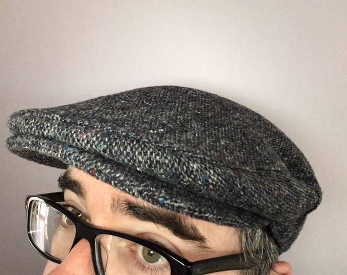 Authentic Donegal Tweed Irish Flat Cap - Grey Tweed Cap -Paddy Cap - 100% Irish Tweed Wool - Handmade - Drivers Cap - Golf Cap