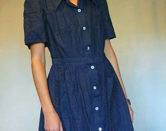 VINTAGE 60's dress//polka dots print