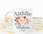Auntie/New baby/Aunt mug/Aunt coffee mug/coffee mug/coffee cup/mug/cute mug/Pregnancy announcement/dishwasher + microwave safe