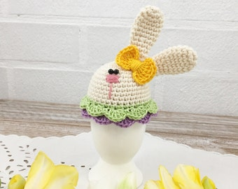Easter Bunny Egg, Easter Decoration, Easter Table Decor, Knit Egg Cosy, Girls Easter Outfit, Crochet Egg Cozy, Egg Warmer, Egg Hat, Eggs
