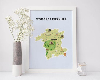 Worcestershire Map - Illustrated map of Worcestershire