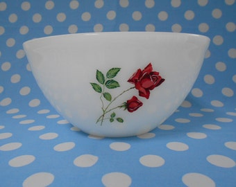 """Agee Pyrex """"Ruby Rose"""" Mixing (Nesting) Bowl 8"""" 1960's  #10274"""