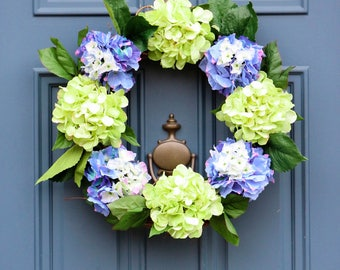 Hydrangea Wreath , New England Hydrangea , Cape Cod Wreath , Summer Wreaths for Front Door , Floral Wreath , Wreath Obsessed