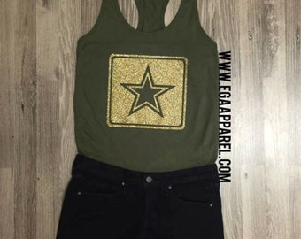 ARMY Olive Racerback Tank+Gold Glitter Print/Army Wife/Army Girlfriend/Army Mom/Army Sister/I love my Soldier