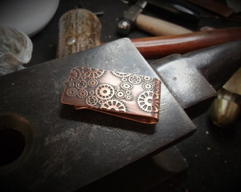 Steampunk Money Clip, Copper Money Clip, Steampunk Style, Etched Money Clip, Gears, Cogs, Bill Fold, Gift, Father's Day, Wedding Anniversary