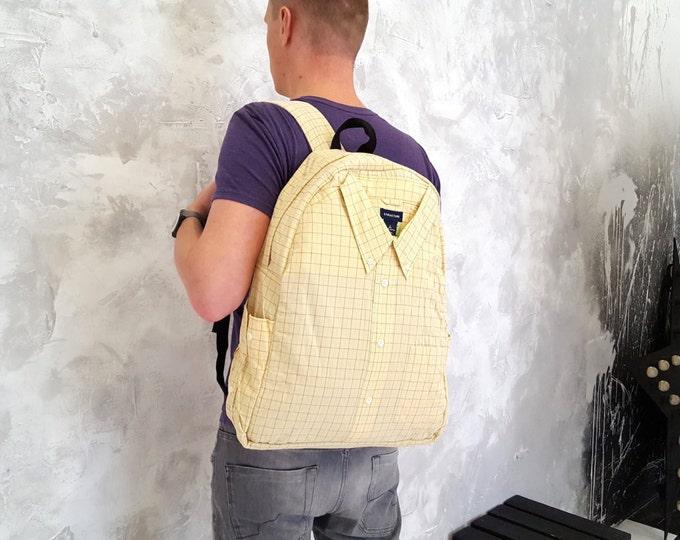 Upcycled backpack, cotton backpack, festival backpack, college backpack, yellow backpack, rucksack, plaid backpack, vegan, grunge backpack