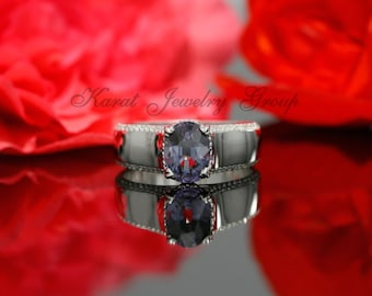 Oval Alexandrite and Diamond Solitaire Engagement Ring In 14k White gold, Oval cut Alexandrite Solitaire Ring