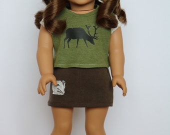 Brown Khaki and Lace Skirt - 18 Inch Doll Clothes
