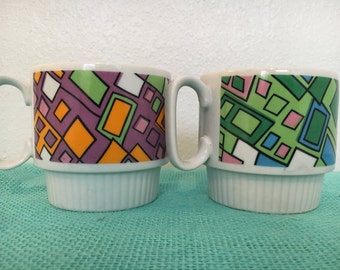Set of Apco Stacking Mugs Cups Mod Colors and Design Made in Japan