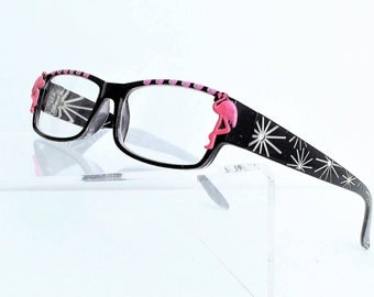 Reading glasses, Pink Flamingo Reading Glasses, +1.75 readers, Painted reading Glasses