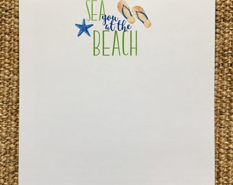 Sea You At The Beach Notepad - Hostess Gift - Summer - Birthday - Beach House - Personalized - Green and Blue - Flip Flops