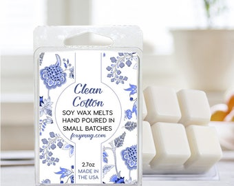 Soy Wax Melts Clean Cotton Hand Poured 2.7 ounce