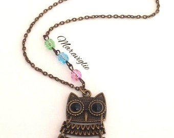 Owl Necklace, Beaded Owl Necklace, Bronze Owl Pendant Necklace, Owl