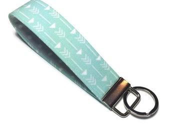 Mint green arrow wristlet key fob, wristlet keychain, key lanyard, wrist key chain, teacher gift, gift under 10, grey & mint, polka dot