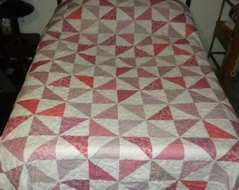 homemade quilt 76x92 Pink pinwheels