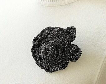 Black crochet brooch Black rose brooch Black brooch Black rose flower Large rose brooch Black flower brooch Women brooch Black rose pin
