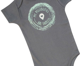 NEW! my possibilities are endless, Cute baby outfit, Organic Baby Onesie, Baby One Piece, Organic Baby, Baby Girl Clothes, Cute Baby Gift