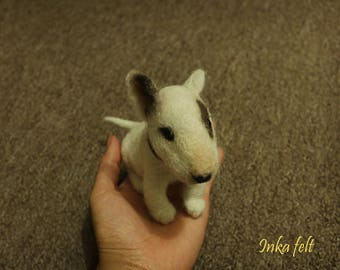Needle felted baby bull terrier
