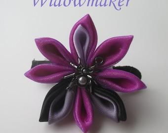 Widowmaker Inspired Kanzashi Flower, Handmade Japanese Fabric Flower, Hair Clip, Purple, Lilac, Black, Hair Jewelry, Overwatch Inspired