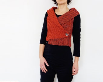 Crochet Pattern - Shawl Collar Vest/Sideways Crossed Shrug/ Ribbed Buttoned Wrap/ Sleeveless Cardigan