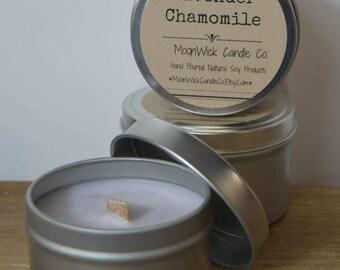 Lavender Chamomile Soy Candle Tins - 6oz.   Spring Candle   Aromatherapy Candle   Yoga Candle   Yoga   Soy Candle Tin   Lavender Soy Candle