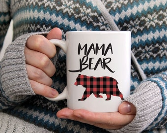 Mama Bear, New Mom Mug, Gift For Mom, Bear Coffee Mug, Buffalo Plaid, Gift For Mom, Mug for Mom, Lumberjack Baby, New Mom Gift