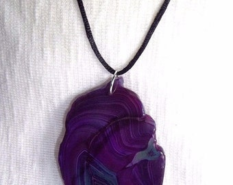 """Purple and Green Agate Slice Pendant on 18"""" Sterling Silver Plated Snake Chain or 18"""" Black Silk Cord Necklace, Security and Safety"""