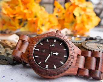 Groomsmen Gift: UD Red Sandal Wooden Watch,Personalized gifts for him, Anniversary gift, Gifts for him, Husband gift, Mens watch