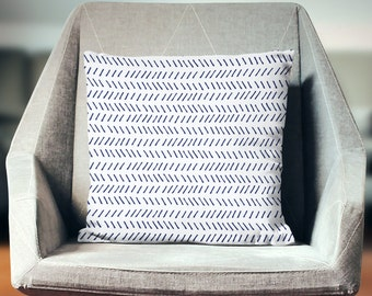 Herringbone Pillow | Herringbone Cushion | Chevron Cushion | Chevron Pillow | Herringbone Pillow Cover | Blue and White Pillow