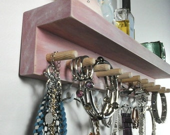 Jewelry Organizer, Jewelry Holder Wall Necklace Holder, Ring Holder, Earring and Bracelet Holder. Wall Mount Jewelry Organizer with Shelf.