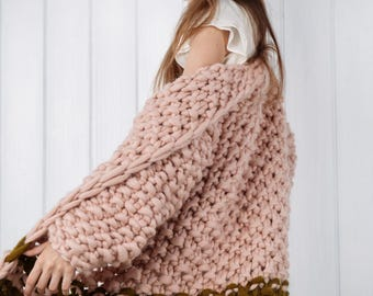 Chunky knit cardigan. Giant knit coat. Chunky knitting. Her