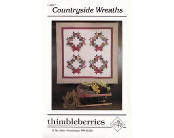 Countryside Wreaths quilt pattern by Thimbleberries, vintage quilting pattern, holiday quilt pattern, rotary cutting pattern, sewing