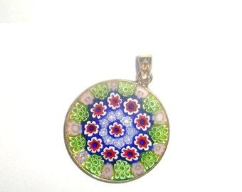 "Art glass pendant. Millefiore glass pendant is about 1"" diameter marked AMV. Antica Murrina Venezia"