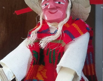 Mexican doll old man figure, Mexican wood carving man, mexican folk figure, Cinco de mayo figure, Michocan Viejito, old man walking stick