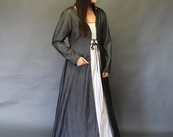 Winterfell; Medieval Gown; Grande; Grey and black brushed weave cotton; WIN#73