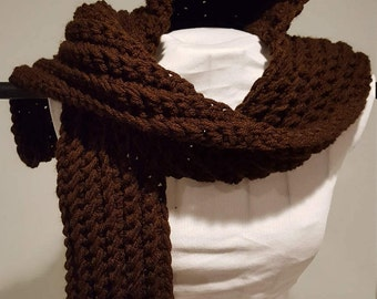 Chocolate Hooded Ribbed Scarf