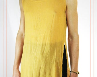 Vintage 1990s Mustard Yellow Sheer Dress Tunic Size Medium