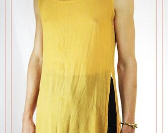 Vintage 1990s Mustard Yellow Sheer Dress Tunic Size Medium