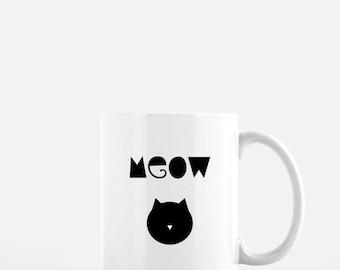 Meow Mug. Cat Mug. Coffee Mug. Cat Lover. Kitty. Gift for cat lover. Cat Lover.Cat Mom Mug. Cat Lover Gift. I Love My Cat Gift