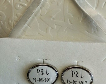 Personalised cufflinks for your wedding - Initials and wedding date - Handmade - Unique gift and memory for groom and best man