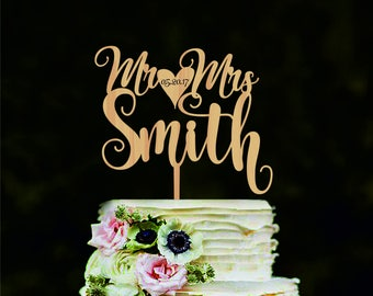 Personalized Wedding Cake Topper Name and Date Custom Mr and Mrs wedding cake topper Cake toppers for wedding Wedding Cake Decor
