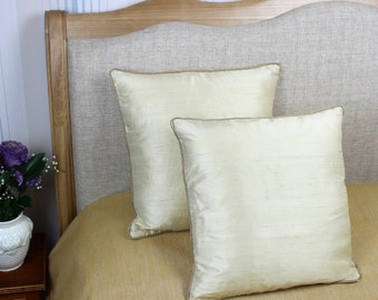 Decorative cream coloured 100% pure silk cushion / pillow cover 16 x 16 inch