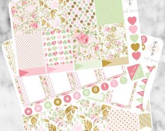 W59 Pink Spring ECLP VERTICAL Weekly Kit, Planner Stickers, Erin Condren, Life Planner, Floral Stickers, Sticker Kit, Flower, Spring Sticker
