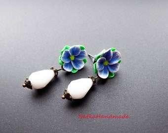 small earrings drop earrings Floral earrings blue earrings polymer clay earrings flowers wedding Jewelry Handmade Earrings lightweight