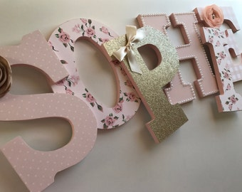 Pink and Gold girls nursery letters, Sophie, baby pink gold letters, gold and blush letters, blush nursery letters, gold nursery decor