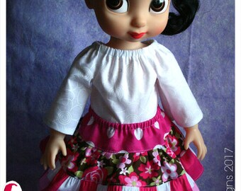 16 Inch Animator Doll Clothing Playtime Peasant Top & Patchwork Pink Floral Twirl Skirt