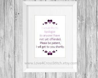 Easy Cross Stitch Pattern Purple, Heart Stitch Pattern Funny, Offensive Cross Stitch Pattern Modern, Funny Quote Cross Stitch Pattern PDF