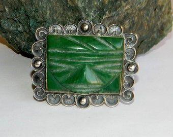 Very Rare 1910's Pre-Spratling Mexican Jade Tribal Mask Brooch pin- Niello over 980 Silver-  Mayan or Aztec inspired