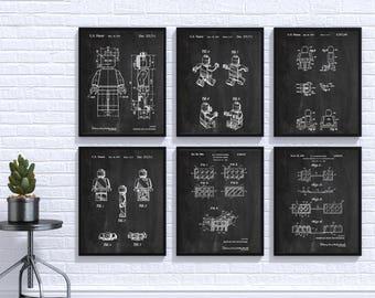 Lego Patent Print Set Of 6, Lego Poster,Lego Bedroom, Wall Art Poster, Building Brick Art, Lego Toys, Lego Gift Idea, Lego Print #P225