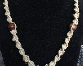 Hemp Necklace with Blue Flower Glass pendant